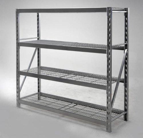 """4 Shelf Storage Rack (Silver Powder Coat Finish) (72""""H x 77""""W x 24""""D)"""