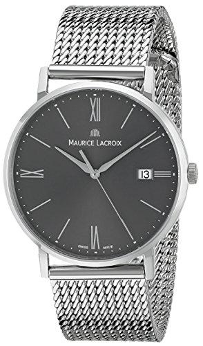 Maurice Lacroix de cuero de los hombres el1087 - SS002 -810 Eliros de Visualización analógico de cuarzo analógico reloj de plata