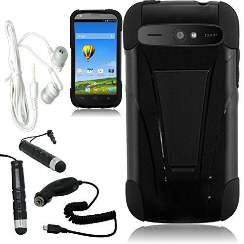 [Arena] Black Hybrid T Stand Cover Fitted Hard Gel Case For Zte Warp Sync N9515 + Free Arena Accessory Kit