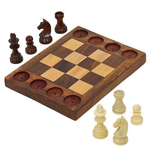 Handmade Wooden Beginners Chess Set – Cross Between Chess and Tic Tac Toe – Teaches Basic Chess Moves
