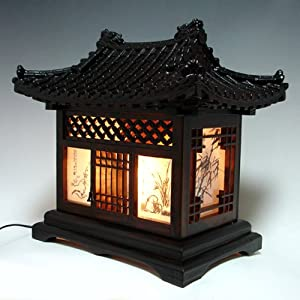 Wood Lamp Shade Handmade Traditional Korean House Design Art Lantern Brown Asian Oriental Decorative Bedside Bedroom Accent Unusual Home Decor Table Light       Customer reviews and more information