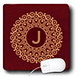 Jaclinart Monogram Vintage Mandala Damask Grunge - Monogram J tan and coffee mandala on rich chocolate muted grunge damask - MousePad (mp_32316_1)