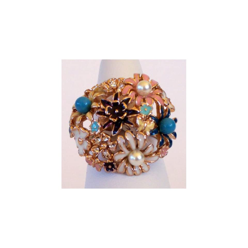 Ladies Size 7 and 8 Fashion Ring Dome Rose Gold Plated Flower Bouquet,synthetic Pearls and Beads. Light Pink and White Enamel with Crystal Stones