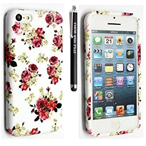 STYLEYOURMOBILE {TM} NEW APPLE IPHONE 5C PRINTED SILICONE GEL PROTECTION CASE SKIN COVER+SCREEN PROTECTOR+STYLUS (Roses on White)