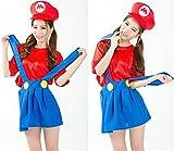 Qiangui              スーパーマリオハロウィン 衣装 女性用コスプレ仮装ハロウィン衣装 コスチューム衣装ハロウィンコスプレ衣装帽子付き女性フリーサイズ
