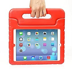 iPad Mini Case - Travellor® Kids Light Weight Kido Series Multi Function Convertible Handle Kickstand Kids Friendly Protective Shockproof Cover with Stand & Handle for Apple iPad Mini (Red)
