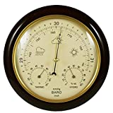 Ambient Weather WS-YG302A-Y Cherry Finish Traditional Barometer with Temperature and Humidity (Beige Dial)