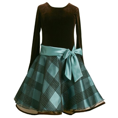 Bonnie Jean Girls 7-16 TEAL-BLUE BROWN VELVET GLITTERED FLOCK ORGANZA Special Occasion Holiday Party Hipster Dress-10 BNJ-5176X-X45176