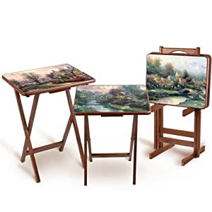 Thomas kinkade artistic wooden tray tables by the bradford exchange folding tables for Thomas kincaid bedroom furniture