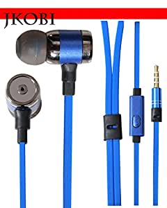 Jkobi Fashionable Crisp Clear Music Stereo Earphone Headset Compatible For Micromax Canvas Fire 4G+ Q412 -Persian Blue