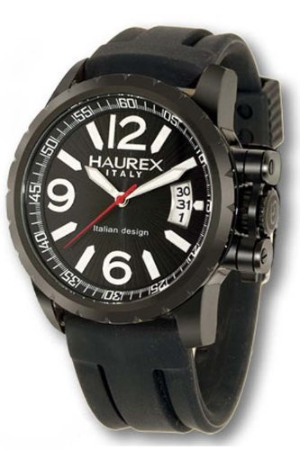 Haurex Italy Aeron Black Dial Watch #1N321UN1 - Reloj de caballero de cuarzo, correa de goma color negro