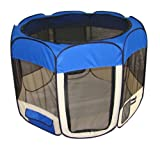 Pet Travel, Indoor or Outdoor Dog Cat Puppies Kitten Play Yard *Blue* *Large*