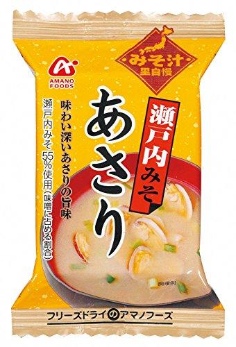 アマノフーズ フリーズドライ 味噌汁 里自慢 瀬戸内 みそ ( あさり ) 10食 セット [ フリーズドライ ねぎ 5g付き ]