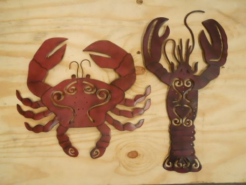 2 pc Set Metal Crab and Lobster Wall Hangings