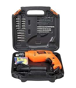 BLACK+DECKER HD555KA50 13mm 550 Watt Impact Drill Kit (Orange, 75 Accessories)