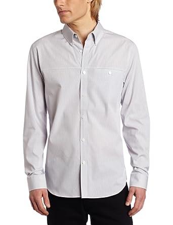 Calvin Klein Sportswear Men's Slim Fit Long Sleeve Yarn Dye Mini Gingham Check Woven Shirt, Light Grey, X-Small