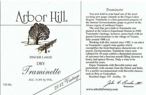 2012 Arbor Hill Grapery & Winery Dry Traminette 750 Ml