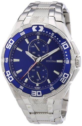Festina F16663/3 - Reloj analógico de cuarzo para hombre, correa de acero inoxidable color plateado (agujas luminiscentes)