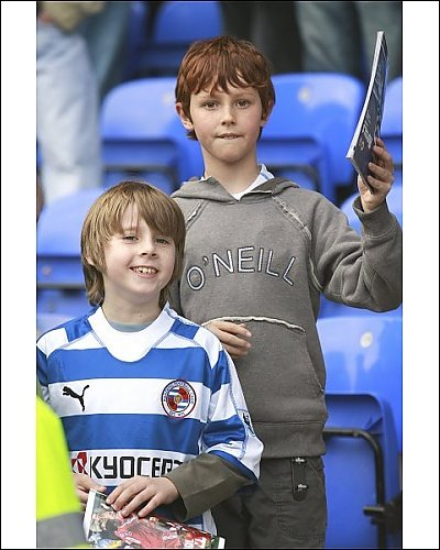 Photographic Print of Fans of the Day – two young Royals fans before the Liverpool game from Reading FC