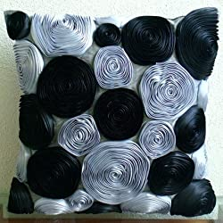 Black Rose - Throw Pillow Covers - Silk Pillow Cover with Satin Ribbon Embroidery
