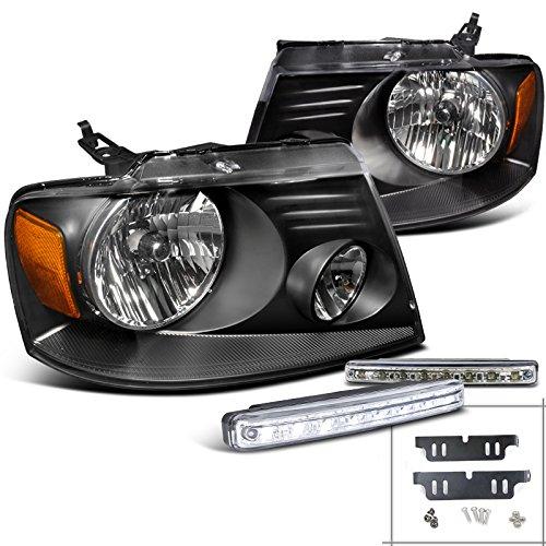 Ford F150 Jdm Black Headlights+Front Led Drl/Bumper Fog Light