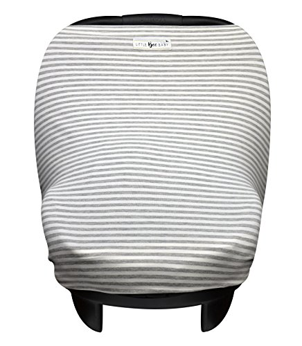 Baby Car Seat Cover Canopy and Nursing Cover Multi-Use Stretchy 5 in 1 Gift (Grey Mini Stripe) by Little Bee Baby (Infant Car Seat Cover Girl compare prices)