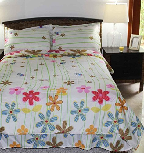 Multiple Sizes - Girls Comforter Set - Daisy White - Kids Style-Full- Exclusively By Blowout Bedding Rn #142035 front-865531