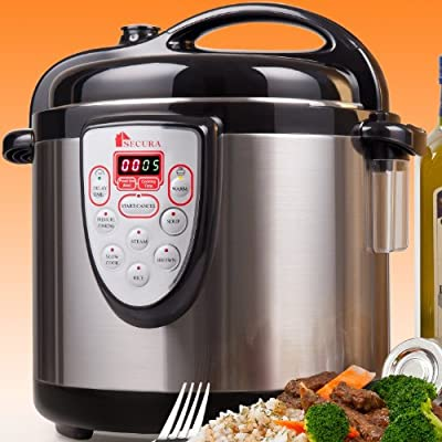 Secura 6-in-1 Electric Pressure Cooker 6qt, 18/10 Stainless Steel Cooking Pot, Pressure Cooker, Slow Cooker, Steamer, Rice Cooker, Browning/Sauté, Soup Maker from Secura