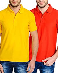 Superjoy Men's Polo T-Shirt (22Yr_S, Red & Yellow, S)
