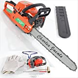 "58cc 3hp Petrol Chainsaw with 18"" Charles Jacobs Blade, Bar & Chain, 2200w High Power Comes With: Ear Muffler Glasses Gloves (Orange)"