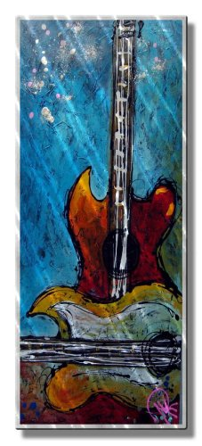 Metal-Wall-Art-Decor-Skulptur-authentische-Kunstwerk-Gitarre-Musik-Wand-aufhngen-Hear-My-Song