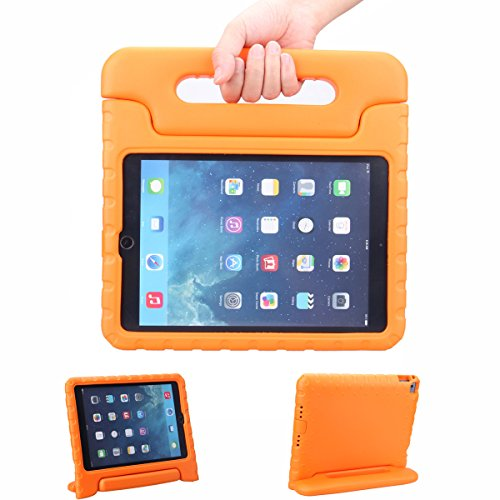 """Xkttsueercrr Shock Proof Case Light Weight Kids Super Protection Cover With Audio Amplifier Design For Ipad 6 Ipad Air2Rd 9.7"""" 9.7Inch Screen (Orange)"""