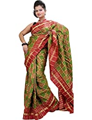 Exotic India Green And Red Ikat Wedding Sari Hand-Woven In Pochampally - Green
