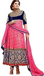 Clickedia Women Pink blue brocade suit - Dress Material
