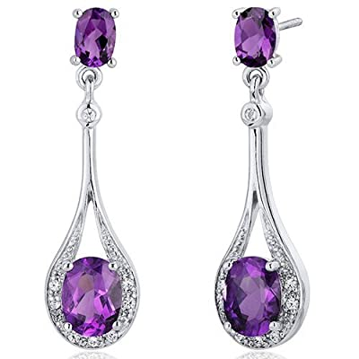 Revoni Glamorous Oval Cut Dangle Gemstone with Diamond CZ Earrings in Sterling Silver of Length 3.51cm