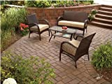 WICKER PATIO FURNITURE 4 PIECE MAINSTAYS INCLUDES CUSHIONS