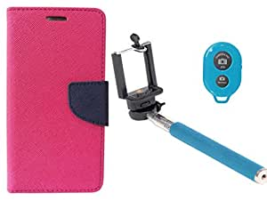Novo Style Book Style Folio Wallet Case Micromax Canvas Nitro A310 Pink + Selfie Stick with Adjustable Phone Holder and Bluetooth Wireless Remote Shutter
