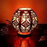 アジアン雑貨 鉄製ランプ レリーフと布 オレンジ
