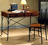 Traditional Style Wood and Metal Desk Chair Set