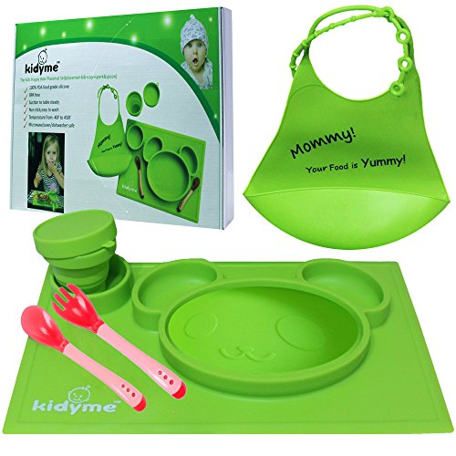 Silicone Placemat & Bib Set by Kidyme™ All-in-One Kids Flatware Dining Tray - Includes Suction Plate, Silicone Bucket Baby Bib With Adjustable Snaps, Child Cup, Fork with Spoon - Dishwasher Safe