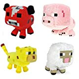 Mojiang Minecraft Animal Plush Set of 4: Baby Pig, Baby Mooshroom, Baby Ocelot, Baby Sheep 6-8 Inches 6-8 inches, 4Pcs Set