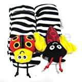 BRAND New Infant Baby Kids Ladybug Bee Wrist Foot Socks Rattles Hand Foot Finders Toys Hot (1 pair socks rattle (1bee+1lady)