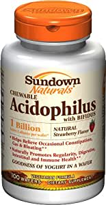 Sundown Naturals Acidophilus with Bifidus, Natural Strawberry Flavor, 100 Chewable Wafers