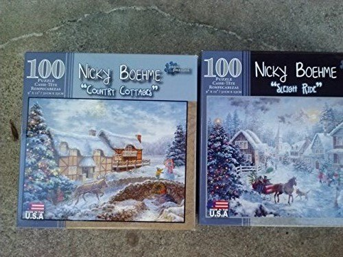 "100 Piece Nicky Boehme ""Country Cottages"" & ""Sleigh Ride"" Puzzles - 1"