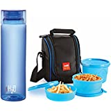 Cello Lunch Pack Combo - Blue 3 H2O (Cello Max Fresh Lunch Box Set, 3-Pieces + Cello H2O Unbreakable Bottle ,...