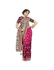 De Marca Pink::Cream::Purple Crepe::Banarasi Jacquard Designer Sher207 Saree