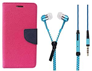 Novo Style Book Style Folio Wallet Case Apple iPhone 4 Pink + Zipper Earphones/Hands free With Mic 3.5mm jack