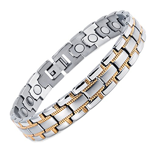 Rainso Mens Magnetic Therapy Health Bracelet With Silver Gold Plated In Gift Bag + Free Link Removal Tool