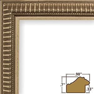 Craig Frames JJLD2 11 by 17-Inch Picture Frame, Ornate Finish, 1-Inch Wide, Metallic Silver