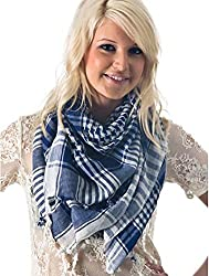 Anuze Fashions New Styles Scarves Arab Shemagh Arafat Scarf For Women's And Girl's (WHITE-BLUE-079BB)